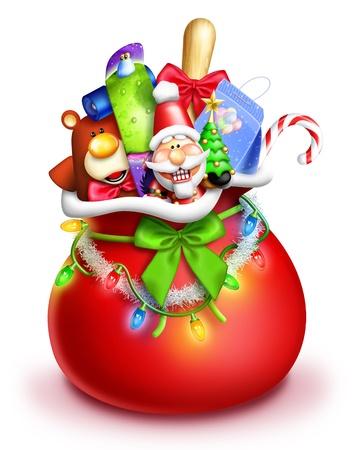 santa s bag: Whimsical Cartoon Santa Gift Bag with Toys Stock Photo