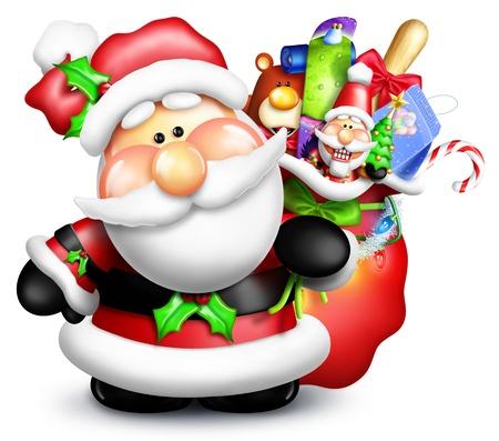 Scherzoso Cartoon Santa con borsa regalo e giocattoli Archivio Fotografico - 14963846