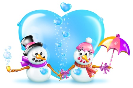 Cartoon Boy and Girl Snowman in front of Ice Heart photo