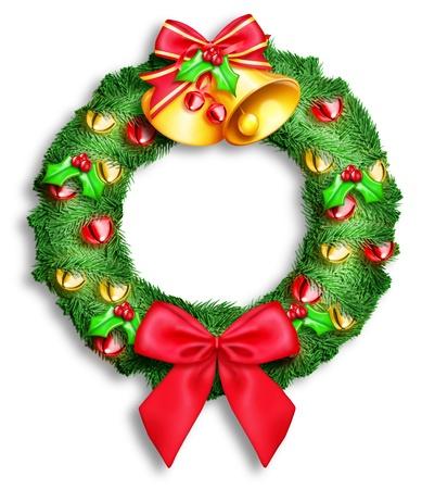 Illustrated Christmas Wreath Фото со стока