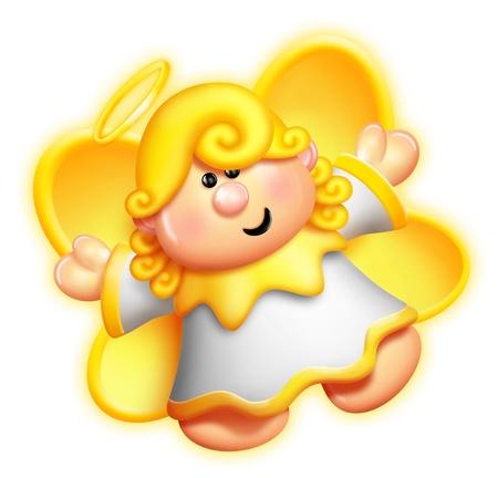 tender: Whimsical Cartoon Angel Stock Photo