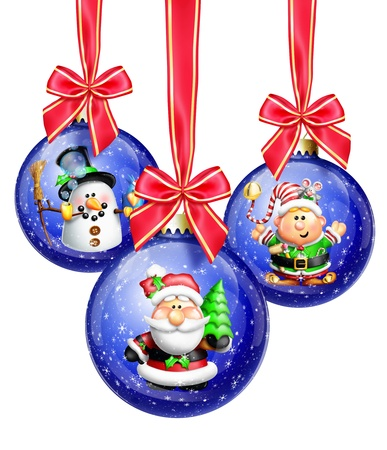 Whimsical Cartoon Christmas Balls with Santa, Snowman and Elf photo