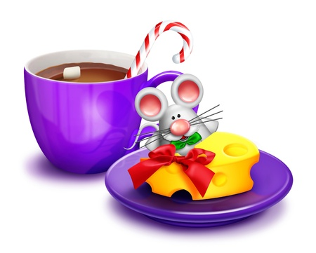 cute mouse: Christmas Mouse with Cheese and Cocoa Stock Photo