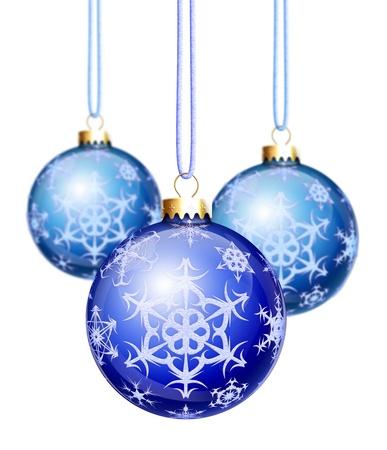 Blue Snowflake Christmas Balls Stock Photo