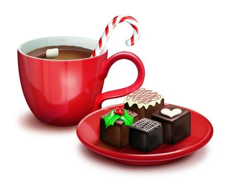 Christmas Chocolates and Cocoa Фото со стока