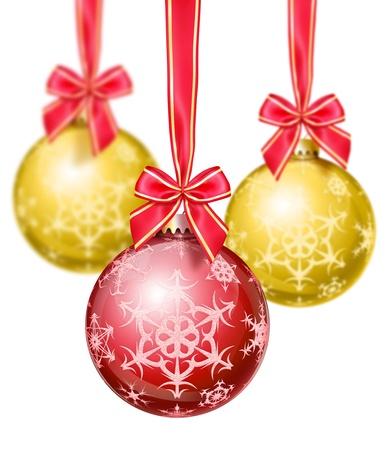 Red and Gold Snowflake Christmas Balls