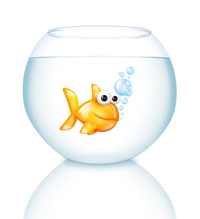 Cartoon Fish Bowl with Goldfish