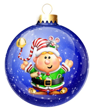 Whimsical Cartoon Elf Christmas Ball photo