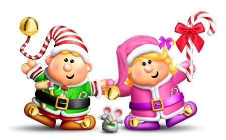 elfos navideÑos: Boy caprichosa y Elfos Girl Holding Hands