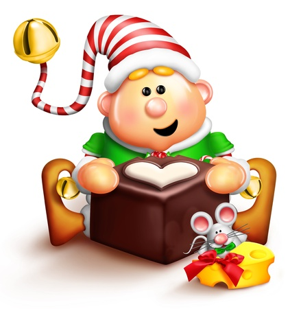 elves: Whimsical Cartoon Elf Eating Chocolate Stock Photo