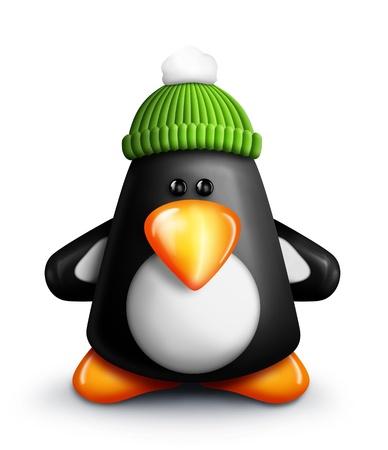 pinguino caricatura: Whimsical Ping�ino de la historieta con el casquillo del Knit