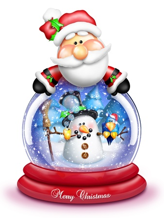 Whimsical Cartoon Santa Leaning Over Snow Globe