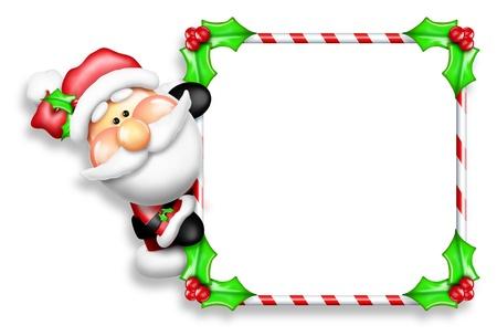 Whimsical Cartoon Santa Peeking Around Candy Cane Sign