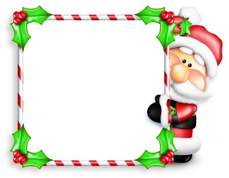Scherzoso Cartoon Santa Sbirciare Intorno Candy Cane Segno Archivio Fotografico - 15241921