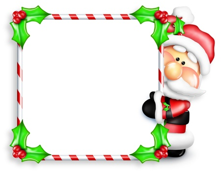 whimsical: Whimsical Cartoon Santa Peeking Around Candy Cane Sign