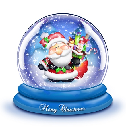 Whimsical Cartoon Santa Snow Globe Stock Photo - 15241956