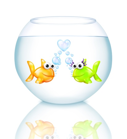 fish bowl: Cartoon Goldfish with Heart Bubbles in Fish Bowl