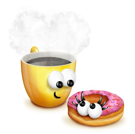 Whimsical Cartoon Coffee Cup with Doughnut