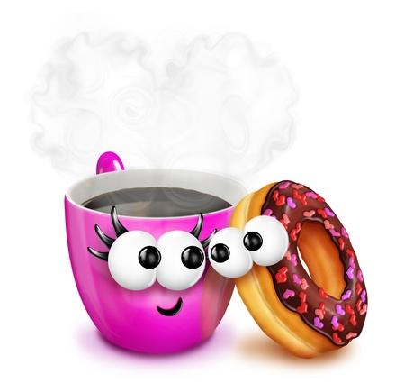 도넛과 변덕스러운 만화 커피 컵