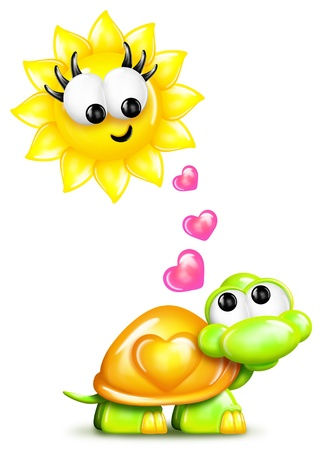 turtles love: Whimsical Cartoon Turtle and Sun with Hearts Stock Photo