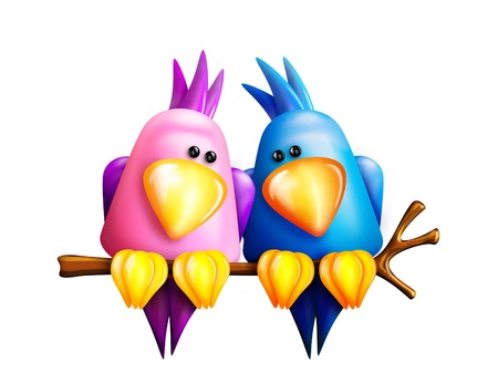Cartoon Lovebirds on a Branch