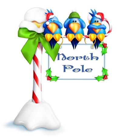 Whimsical Cartoon Naughty Birds on North Pole Sign Stock Photo - 15241924