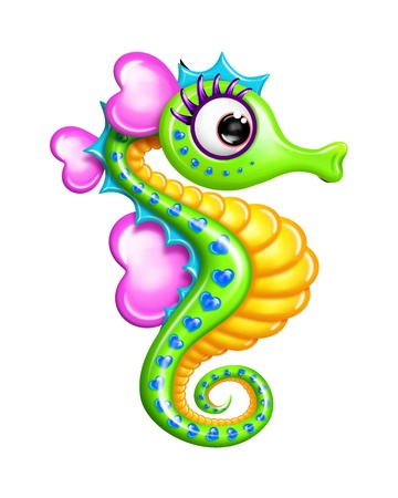 Whimsical Cartoon Boy Seahorse