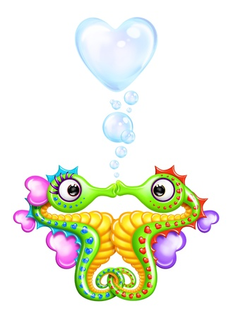 Cartoon Seahorse Girl and Boy with Heart Bubbles Imagens