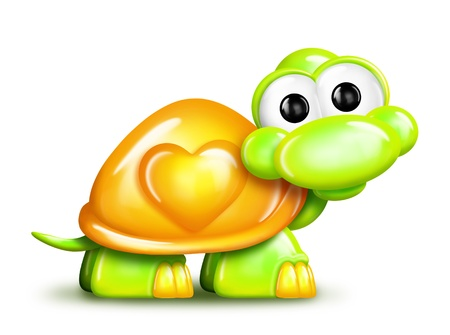 baby and mother: Cartoon Turtle with Heart  Stock Photo