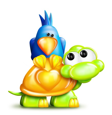 turtles love: Whimsical Cartoon Turtle with Bird on Back