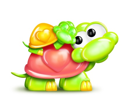 mother and baby: Whimsical Cartoon Turtle with Baby on Back