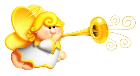 Whimsical Cartoon Angel Blowing Horn