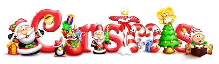 Whimsical Christmas Word with Characters