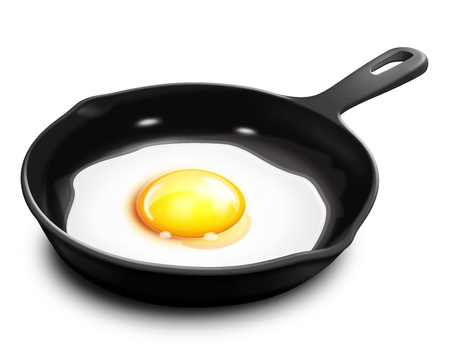 illustrated: Illustrated Fried Egg in Frying Pan