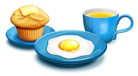 illustrated: Illustrated breakfast with Muffin,Eggs and Orange Juice