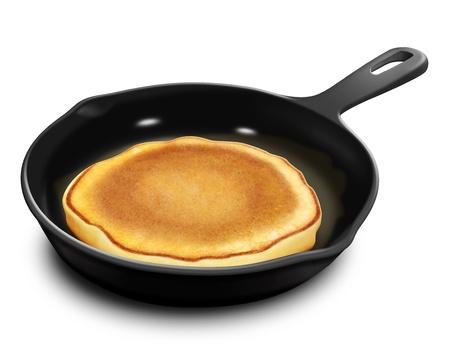 illustrated: Illustrated Pancake in Frying Pan Stock Photo