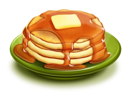 Illustrated Stack of Pancakes with Syrup