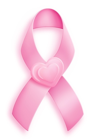 Pink Breast Cancer Ribbon with Hearts