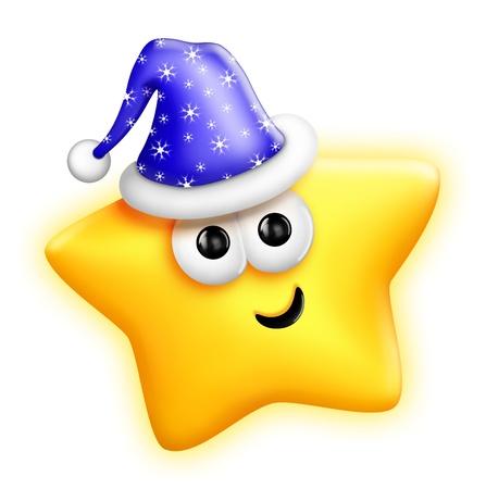 estrella caricatura: Star caprichoso lindo de la historieta en el sombrero de Santa