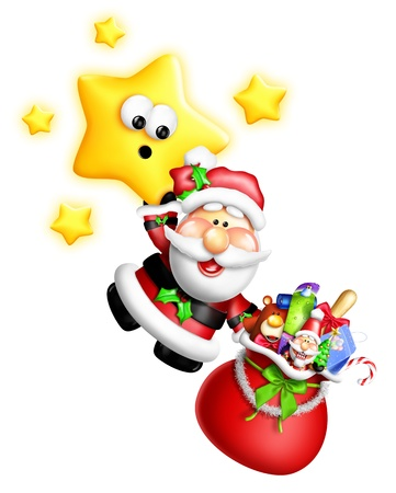 Whimsical Cartoon Santa Hanging From Cute Star Stock Photo - 15242157