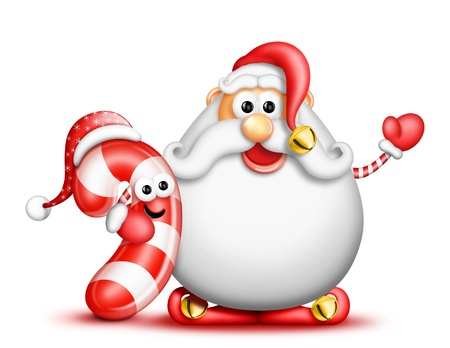 Whimsical Cartoon Big Beard Santa and Candy Cane