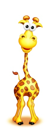 illustration zoo: Whimsical Cute Cartoon Giraffe Boy