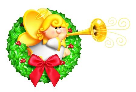 christmas celebration: Whimsical Cartoon Christmas Wreath with Angel