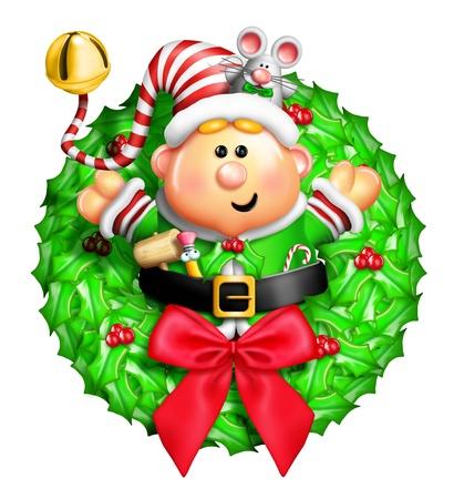 elves: Whimsical Cartoon Christmas Wreath with Elf