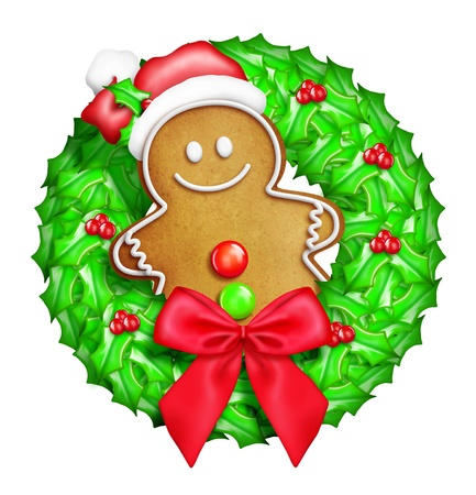 Whimsical Cartoon Christmas Wreath with Gingerbread Man Stock Photo
