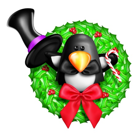 Whimsical Cartoon Christmas Wreath with Penguin Stock Photo