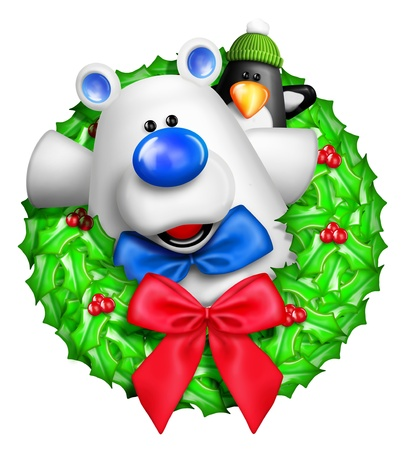 Whimsical Cartoon Christmas Wreath with Polar Bear photo