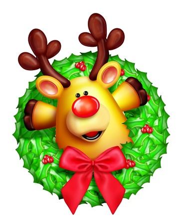 candy cane: Whimsical Cartoon Christmas Wreath with Reindeer