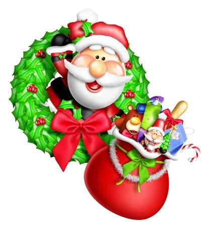 Whimsical Cartoon Christmas Wreath with Santa and Gift Bag