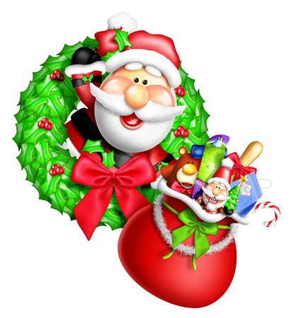 Whimsical Cartoon Christmas Wreath with Santa and Gift Bag photo